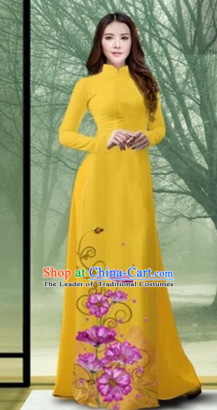 Traditional Top Grade Asian Vietnamese Costumes Classical Printing Flowers Full Dress, Vietnam National Ao Dai Dress Catwalks Debutante Yellow Qipao for Women