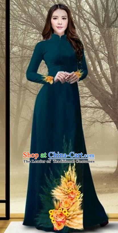 Traditional Top Grade Asian Vietnamese Costumes Classical Printing Flowers Full Dress, Vietnam National Ao Dai Dress Catwalks Debutante Atrovirens Qipao for Women