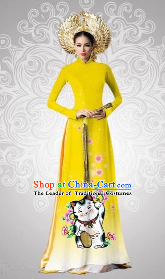 Traditional Top Grade Asian Vietnamese Costumes Classical Printing Cats Full Dress, Vietnam National Ao Dai Dress Catwalks Debutante Yellow Qipao for Women