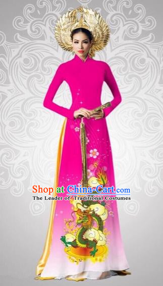 Traditional Top Grade Asian Vietnamese Costumes Classical Printing Dragon Full Dress, Vietnam National Ao Dai Dress Catwalks Debutante Pink Qipao for Women