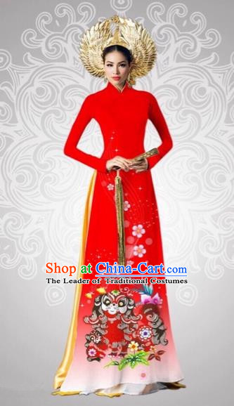 Traditional Top Grade Asian Vietnamese Costumes Classical Printing New Year Full Dress, Vietnam National Ao Dai Dress Catwalks Debutante Red Qipao for Women
