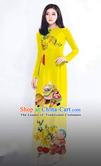 Traditional Top Grade Asian Vietnamese Costumes Classical Printing New Year Full Dress, Vietnam National Ao Dai Dress Catwalks Debutante Yellow Qipao for Women