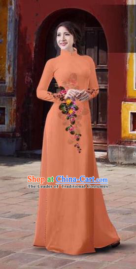 Traditional Top Grade Asian Vietnamese Costumes Classical 3D Printing Flowers Full Dress, Vietnam National Ao Dai Dress Catwalks Debutante Orange Qipao for Women