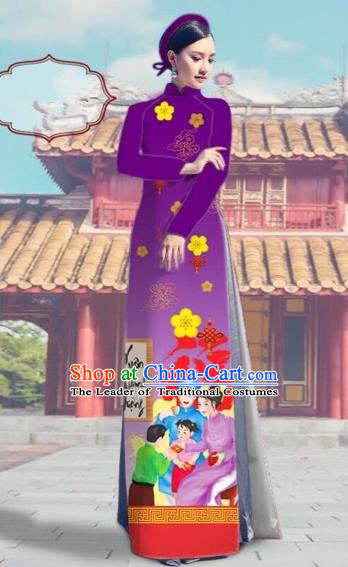 Traditional Top Grade Asian Vietnamese Costumes Classical Printing Purple Full Dress, Vietnam National Ao Dai Dress Catwalks Debutante Happy New Year Qipao for Women