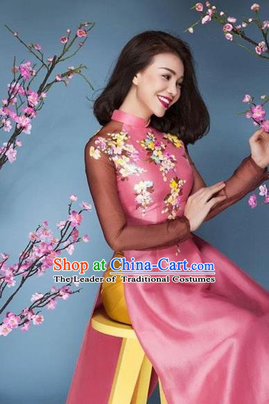 Traditional Top Grade Asian Vietnamese Costumes Classical Printing Peach Blossom Full Dress, Vietnam National Ao Dai Dress Catwalks Debutante Bride Pink Qipao for Women