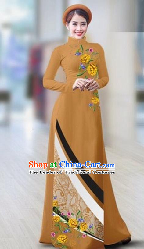 Traditional Top Grade Asian Vietnamese Costumes Classical Printing Full Dress Dance Cothing, Vietnam National Ao Dai Dress Catwalks Debutante Khaki Qipao for Women