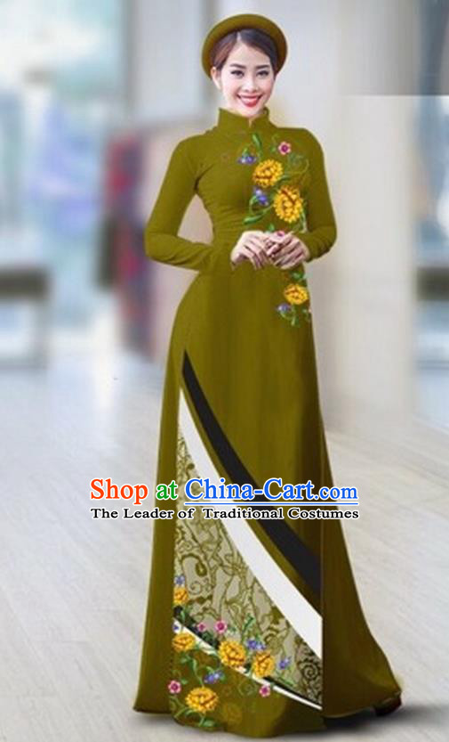 Traditional Top Grade Asian Vietnamese Costumes Classical Printing Full Dress Dance Cothing, Vietnam National Ao Dai Dress Catwalks Debutante Atrovirens Qipao for Women