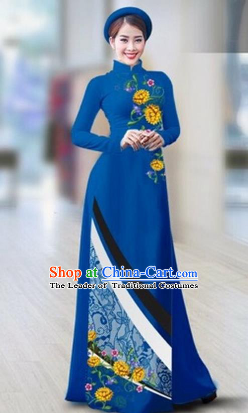 Traditional Top Grade Asian Vietnamese Costumes Classical Printing Full Dress Dance Cothing, Vietnam National Ao Dai Dress Catwalks Debutante Royalblue Qipao for Women