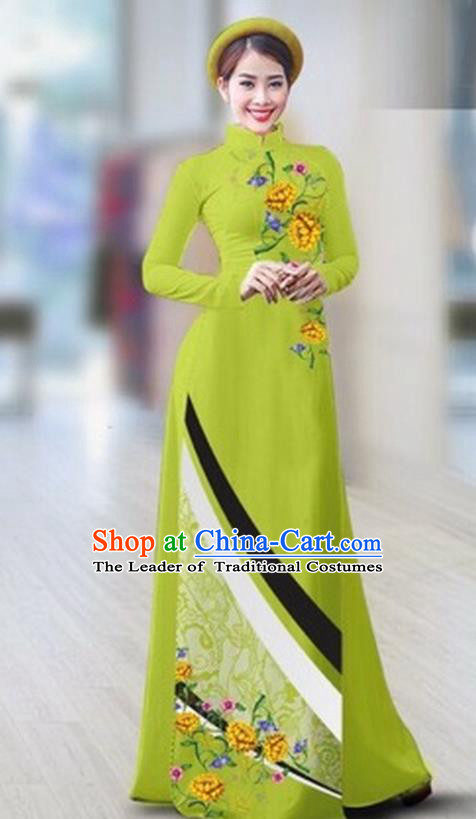 Traditional Top Grade Asian Vietnamese Costumes Classical Printing Full Dress Dance Cothing, Vietnam National Ao Dai Dress Catwalks Debutante Light Green Qipao for Women
