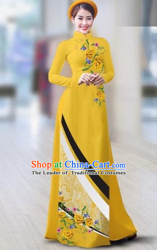 Traditional Top Grade Asian Vietnamese Costumes Classical Printing Full Dress Dance Cothing, Vietnam National Ao Dai Dress Catwalks Debutante Yellow Qipao for Women