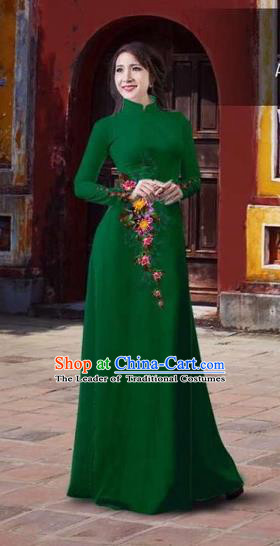Traditional Top Grade Asian Vietnamese Costumes Classical 3D Printing Flowers Full Dress, Vietnam National Ao Dai Dress Catwalks Debutante Green Qipao for Women