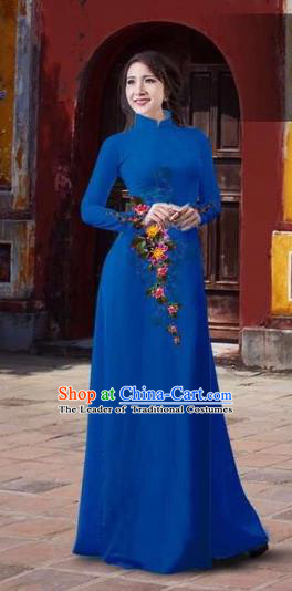 Traditional Top Grade Asian Vietnamese Costumes Classical 3D Printing Flowers Full Dress, Vietnam National Ao Dai Dress Catwalks Debutante Blue Qipao for Women