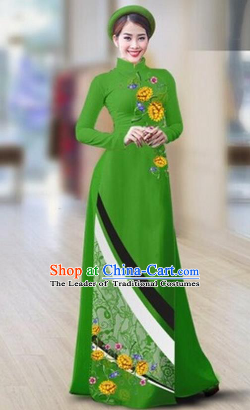 Traditional Top Grade Asian Vietnamese Costumes Classical Printing Full Dress Dance Cothing, Vietnam National Ao Dai Dress Catwalks Debutante Green Qipao for Women