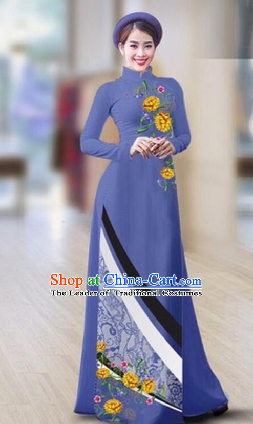 Traditional Top Grade Asian Vietnamese Costumes Classical Printing Full Dress Dance Cothing, Vietnam National Ao Dai Dress Catwalks Debutante Dusty Blue Qipao for Women