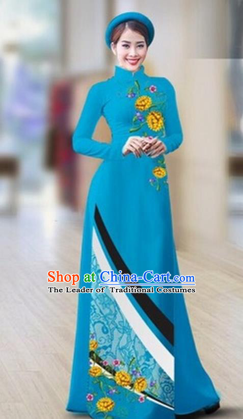 Traditional Top Grade Asian Vietnamese Costumes Classical Printing Full Dress Dance Cothing, Vietnam National Ao Dai Dress Catwalks Debutante Blue Qipao for Women