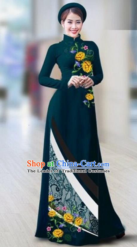 Traditional Top Grade Asian Vietnamese Costumes Classical Printing Full Dress Dance Cothing, Vietnam National Ao Dai Dress Catwalks Debutante Peacock Green Qipao for Women