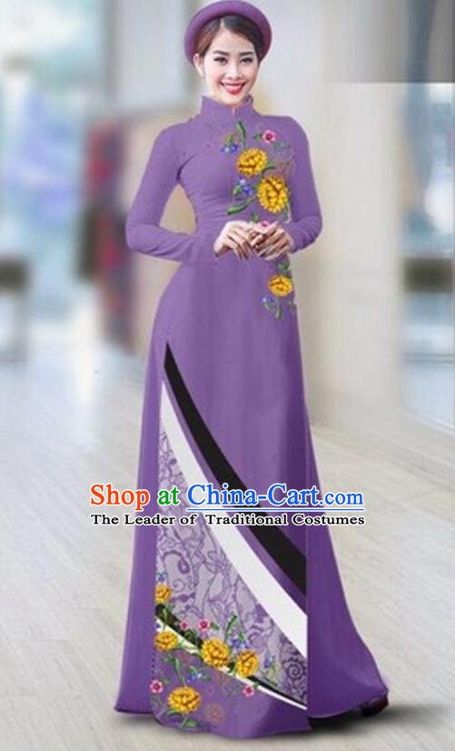 Traditional Top Grade Asian Vietnamese Costumes Classical Printing Full Dress Dance Cothing, Vietnam National Ao Dai Dress Catwalks Debutante Violet Qipao for Women