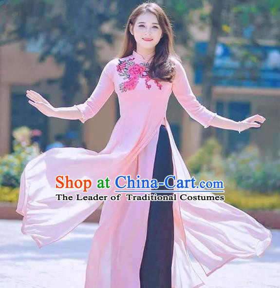 Traditional Top Grade Asian Vietnamese Costumes Classical Printing Flowers Full Dress, Vietnam National Ao Dai Dress Catwalks Debutante Pink Chiffon Qipao for Women