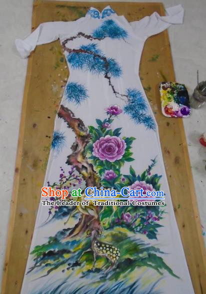 Traditional Top Grade Asian Vietnamese Costumes Classical Printing Flowers Full Dress, Vietnam National Ao Dai Dress Catwalks Debutante White Qipao for Women