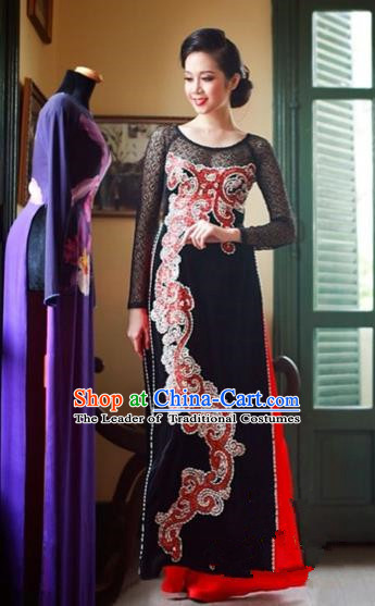 Traditional Top Grade Asian Vietnamese Costumes Classical Manual Embroider Bead Full Dress, Vietnam National Ao Dai Dress Cheongsam for Women