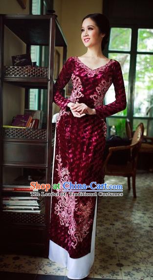 Traditional Top Grade Asian Vietnamese Costumes Classical Manual Embroider Bead Full Dress, Vietnam National Ao Dai Dress Pleuche Cheongsam for Women