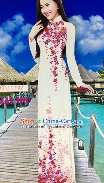Traditional Top Grade Asian Vietnamese Costumes Classical Printing Full Dress, Vietnam National Ao Dai Dress White Cheongsam for Women
