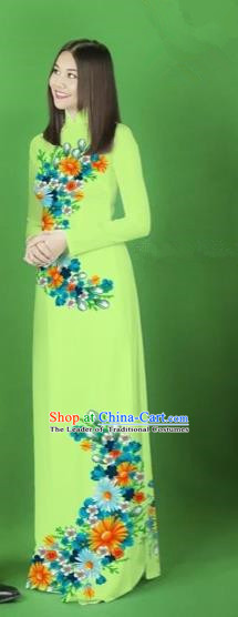 Traditional Top Grade Asian Vietnamese Costumes Classical Printing Flower Full Dress, Vietnam National Ao Dai Dress Light Green Cheongsam for Women