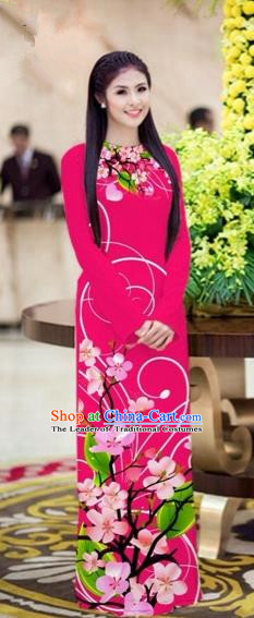 Traditional Top Grade Asian Vietnamese Costumes Classical Printing Peach Blossom Princess Full Dress, Vietnam National Ao Dai Dress Rosy Cheongsam for Women