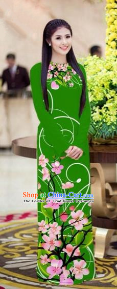 Traditional Top Grade Asian Vietnamese Costumes Classical Printing Peach Blossom Princess Full Dress, Vietnam National Ao Dai Dress Green Cheongsam for Women