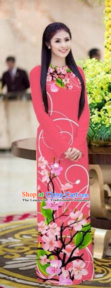 Traditional Top Grade Asian Vietnamese Costumes Classical Printing Peach Blossom Princess Full Dress, Vietnam National Ao Dai Dress Pink Cheongsam for Women