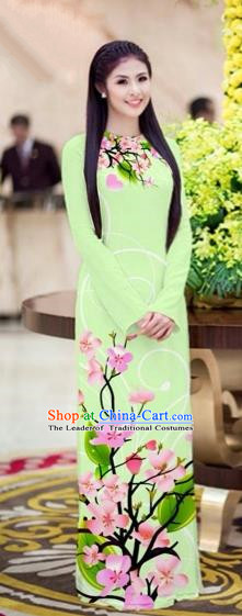 Traditional Top Grade Asian Vietnamese Costumes Classical Printing Peach Blossom Princess Full Dress, Vietnam National Ao Dai Dress Light Green Cheongsam for Women
