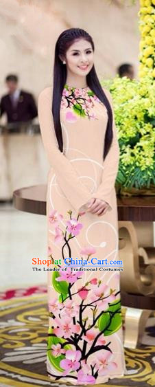 Traditional Top Grade Asian Vietnamese Costumes Classical Printing Peach Blossom Princess Full Dress, Vietnam National Ao Dai Dress Khaki Cheongsam for Women