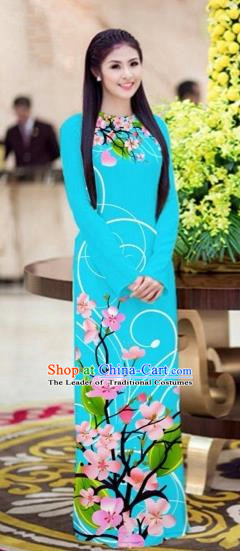 Traditional Top Grade Asian Vietnamese Costumes Classical Printing Peach Blossom Princess Full Dress, Vietnam National Ao Dai Dress Blue Cheongsam for Women