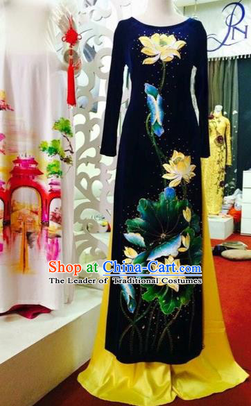 Traditional Top Grade Asian Vietnamese Costumes Classical Embroidery Lotus Full Dress Dance Cothing, Vietnam National Ao Dai Dress Catwalks Debutante Pleuche Qipao for Women