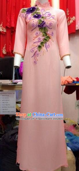 Traditional Top Grade Asian Vietnamese Costumes Classical Wedding Embroidery Full Dress, Vietnam National Ao Dai Dress Catwalks Debutante Bride Pink Qipao for Women