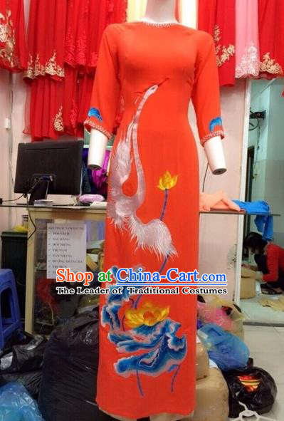 Traditional Top Grade Asian Vietnamese Costumes Classical Hand Painting Full Dress, Vietnam National Ao Dai Dress Catwalks Debutante Orange Qipao for Women