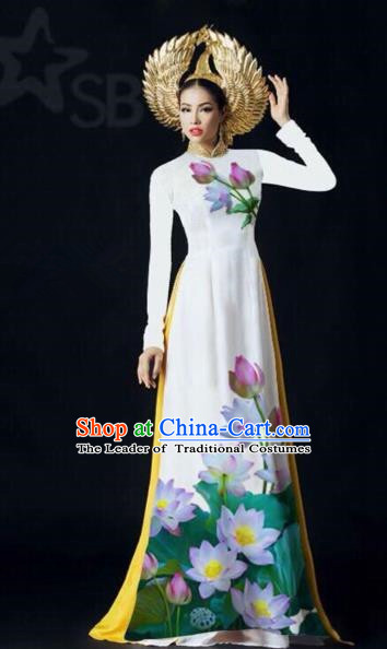 Traditional Top Grade Asian Vietnamese Costumes Classical Painting Lotus Full Dress, Vietnam National Ao Dai Dress Catwalks Debutante White Qipao for Women