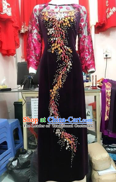 Traditional Top Grade Asian Vietnamese Costumes Classical Embroidery Pleuche Full Dress, Vietnam National Ao Dai Dress Catwalks Debutante Wine Red Lace Qipao for Women