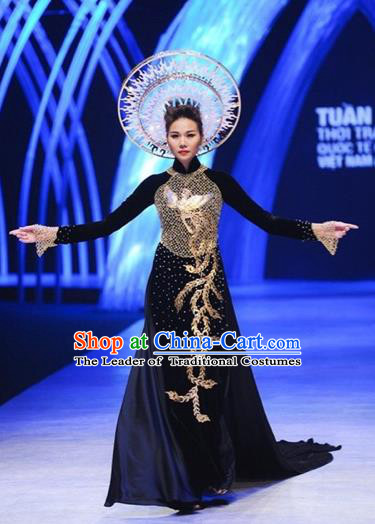 Traditional Top Grade Asian Vietnamese Costumes Classical Embroidery Phoenix Full Dress, Vietnam National Ao Dai Dress Catwalks Debutante Queen Qipao for Women
