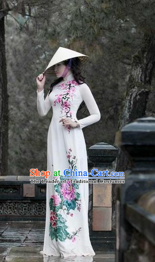 Traditional Top Grade Asian Vietnamese Costumes Classical Hand Painting Flowers Full Dress, Vietnam National Ao Dai Dress Catwalks Debutante Queen White Qipao for Women