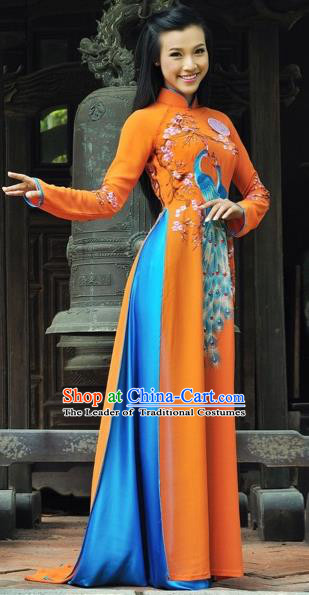 Traditional Top Grade Asian Vietnamese Costumes Classical Printing Peacock Full Dress, Vietnam National Ao Dai Dress Catwalks Debutante Orange Qipao for Women