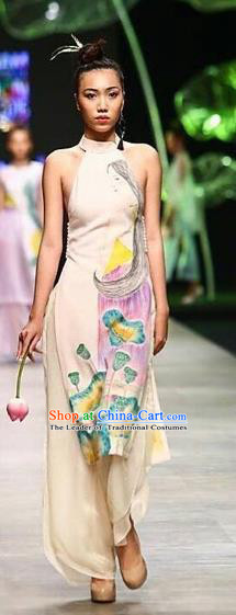 Traditional Top Grade Asian Vietnamese Costumes Classical Hand Painting Full Dress, Vietnam National Ao Dai Dress Catwalks Debutante Halter Qipao for Women