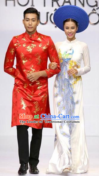 Traditional Top Grade Asian Vietnamese Costumes Classical Wedding Bride Full Dress, Vietnam National Ao Dai Dress Catwalks Debutante Qipao for Women