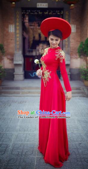Traditional Top Grade Asian Vietnamese Costumes Classical Wedding Bride Full Dress, Vietnam National Ao Dai Dress Catwalks Debutante Red Qipao for Women