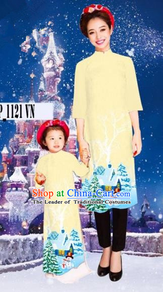 Traditional Top Grade Asian Vietnamese Costumes Classical Hand Painting Full Dress, Vietnam National Ao Dai Dress Mother-daughter Christmas Qipao