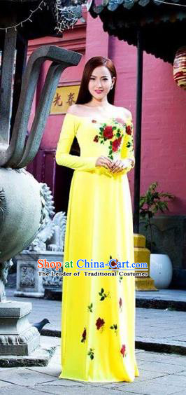 Traditional Top Grade Asian Vietnamese Costumes Classical Printing Flowers Full Dress, Vietnam National Ao Dai Dress Yellow Qipao Dance Clothing for Women
