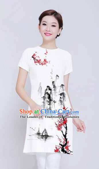 Traditional Top Grade Asian Vietnamese Costumes Classical Ink Wash Painting Full Dress, Vietnam National Ao Dai Dress White Short Qipao Dance Clothing for Women