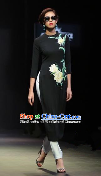 Traditional Top Grade Asian Vietnamese Costumes Classical Printing Lotus Full Dress, Vietnam National Ao Dai Dress Black Short Qipao for Women