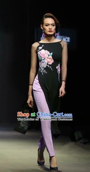 Traditional Top Grade Asian Vietnamese Costumes Classical Full Dress, Vietnam National Ao Dai Dress Painting Flowers Black Cheongsam for Women