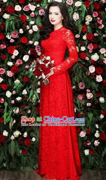 Traditional Top Grade Asian Vietnamese Costumes Classical Bride Toast Full Dress, Vietnam National Ao Dai Dress Red Lace Cheongsam for Women